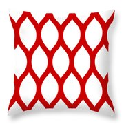 Simplified Latticework With Border In Red Throw Pillow
