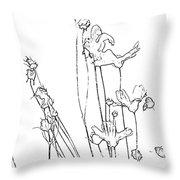 Simplistic Flower Sketch Throw Pillow