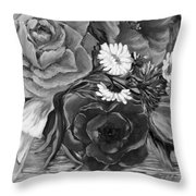 Simply Flowers 1 Black And White Throw Pillow