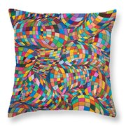 Simply Red - Euclidian Curvatures Throw Pillow