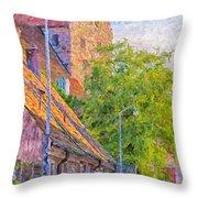 Simrishamn Street Scene Digital Painting Throw Pillow