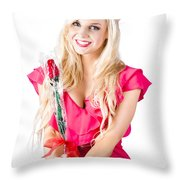 Sincere Woman Saying Thank You With Flower Throw Pillow