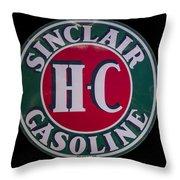 Sinclair Gasoline Porcelain Sign Throw Pillow
