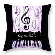 Sing The Blues Purple Throw Pillow