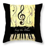 Sing The Blues Yellow Throw Pillow