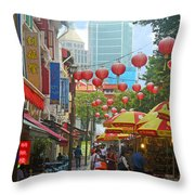 Singapore - Old And New Throw Pillow