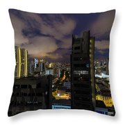 Singapore Cityscape On A Cloudy Night Throw Pillow