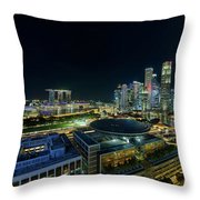 Singapore Modern Skyline By The River At Night Throw Pillow