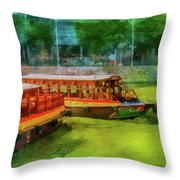 Singapore River Boats Throw Pillow
