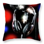 Singer Stage Microphone Throw Pillow