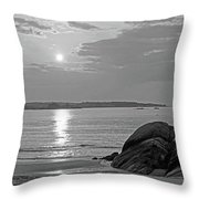 Singing Beach Rocky Sunrise Manchester By The Sea Ma Sand Black And White Throw Pillow