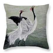 Singing Cranes Throw Pillow
