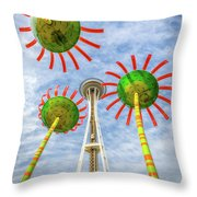 Singing Flowers Under The Space Needle Throw Pillow