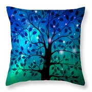 Singing In The Aurora Tree Throw Pillow