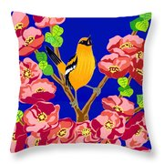 Singing Oriole Throw Pillow