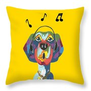 Singing The Blues - Dog Humor Throw Pillow
