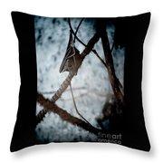 Single Bat Hanging Alone Throw Pillow