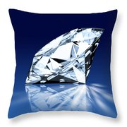 Single Blue Diamond Throw Pillow
