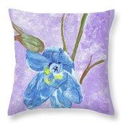 Single Delphinium Flower Throw Pillow