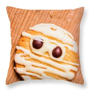 Single Homemade Mummy Cookie For Halloween Throw Pillow