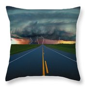 Single Lane Road Leading To Storm Cloud Throw Pillow