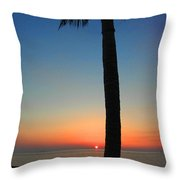 Single Palm And Sunset Throw Pillow