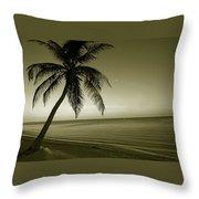 Single Palm At The Beach Throw Pillow