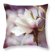 Single White Magnolia Throw Pillow