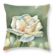 Single  White Rose Throw Pillow