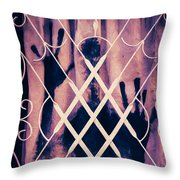 Sinister Figure Painted On A Curtain Throw Pillow