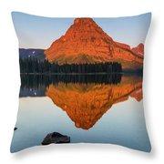 Sinopah Mountain Reflected In Two Medicine Lake At Sunrise Throw Pillow
