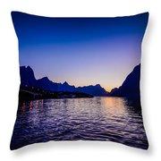 Sinset Over Lofoten Islands Throw Pillow