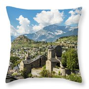 Sion Old Town In Switzerland Throw Pillow