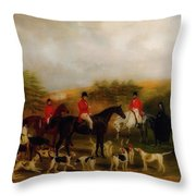 Sir Edmund Antrobus And The Old Surrey Fox Hounds At The Foot Of Throw Pillow