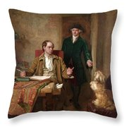 Sir Joshua Reynolds Visiting Goldsmith In His Study Throw Pillow