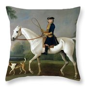 Sir Roger Burgoyne Riding 'badger' Throw Pillow