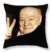 Sir Winston Churchill Victory Throw Pillow