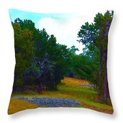 Sister's Hill Country Backyard Throw Pillow