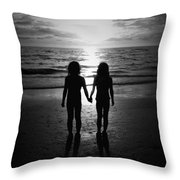 Sisters In Black And White Throw Pillow