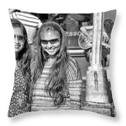 Sisters Out And About Throw Pillow