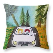 Sisters Road Trip Throw Pillow
