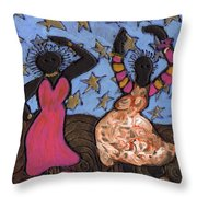 Sisters Sarah Sue And Sally Mae Swinging The Night Away Throw Pillow
