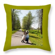 Sisters Strolling Throw Pillow