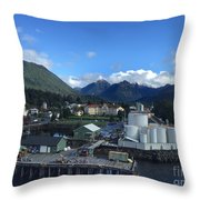 Sitka From The Waterfront Showing The Three Sisters In The Back 2015 Throw Pillow