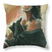 Sitted Woman Throw Pillow