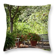 Sitting Along The Path Throw Pillow
