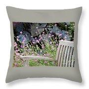 Sitting Amongst A Wildflower Garden Throw Pillow