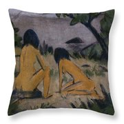 Sitting And Kneeling Figures On The Bank Of The Moritzburg Lakes Throw Pillow