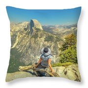 sitting at Glacier Point Throw Pillow