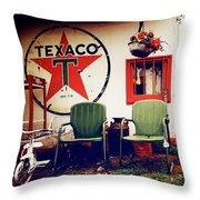 Sitting At The Texaco Throw Pillow